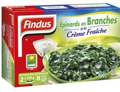 Epinards en branches � la cr�me Findus - 500 g