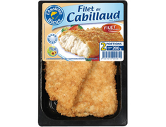 2 filets de cabillaud pan�s - 200�g