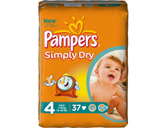 37 Pampers Simply-Dry maxi, taille 4 (7 à 18 kg)