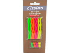 8 bougies fluo avec supports Casino