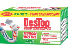 Destop mousse active avec javel - 8 sachets