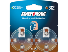 Rayovac, 8 piles pour appareils auditifs, 1,45V Rayovac - n° 312, PR 41 intra + contours oreilles