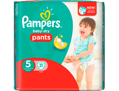 21 couches culottes Pampers Baby Dry Pants, taille 5