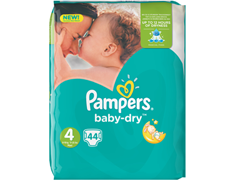 44 Pampers Baby Dry, taille 4 (7 à 18 kg)