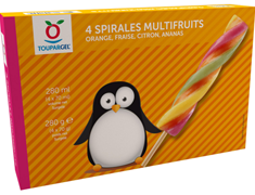 Glace à l'eau spirales multifruits - 4 x 70 g / 70 ml