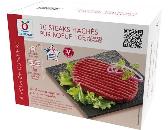 10 steaks hachés surgelés origine France 10% M.G. - 1 kg