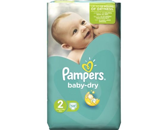 Couches Pampers Baby Dry Taille 2 3 à 6 Kg 58 Couches Pampers