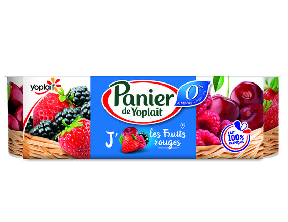 Panier de Yoplait 0% fruits rouges - 8 x 130 g