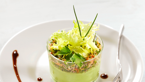 Verrine guacamole et chair de crabe - Recette Institut Paul Bocuse