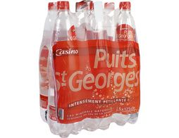 Eau gazeuse Puits Saint Georges rouge Casino - 6 x 1,25 l