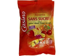Bonbons assortis aux fruits sans sucre Casino - 150 g