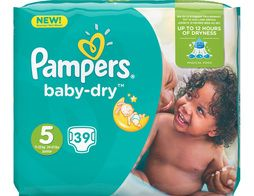 Couches Pampers Baby Dry, taille 5 (11 à 25 kg) - 39 couches