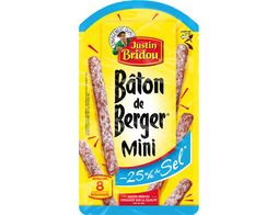 Mini saucissons secs nature Baton berger -25% sel - 80 g