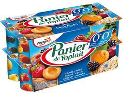 Yaourts Panier de Yoplait fruits rouges et jaunes 0 % - 16 x 125 g