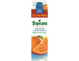 Jus d'orange Tropicana sans pulpe + 10 % offert - 1,1 l