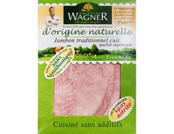 Jambon traditionnel cuit sans nitrite 4 tranches Wagner - 120 g