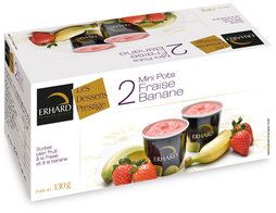 Mini-pots sorbet plein fruit fraise banane - 2 x 65 g (2 x 100 ml)