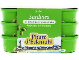 Sardines à l'huile d'olive vierge extra Phare d'Eckmuhl - 3 x 55 g
