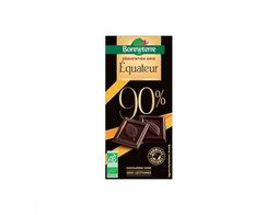 Tablette de chocolat noir intense 90% origine Equateur BIO Bonneterre - 80 g