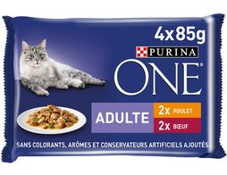 Purina One chat adulte Poulet Boeuf - 4 x 85 g